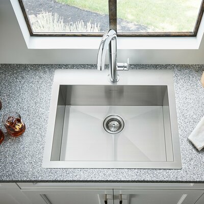 Edgewater 25 x 22 Single Bowl Drop-In Kitchen Sink with Grid and Drain
