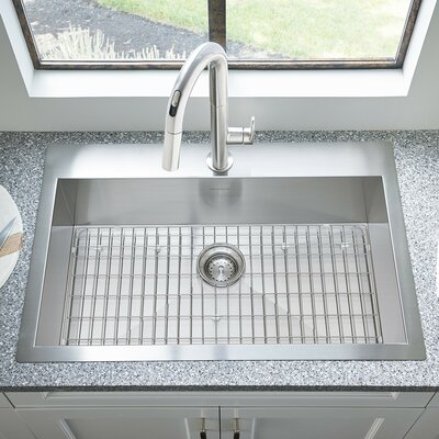 Edgewater 33 x 22 Dual Mount Drop-In Kitchen Sink with Grid and Drain