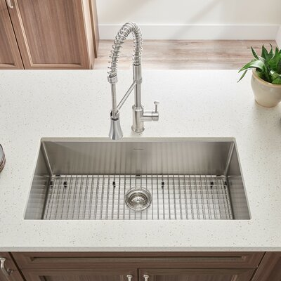 Pekoe 35 x 18 Single Bowl Undermount Kitchen Sink with Grid and Drain