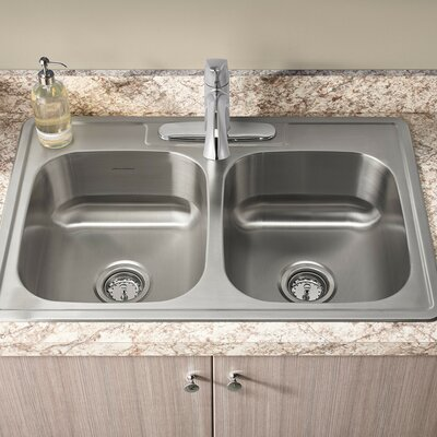 Colony 33 x 22 Double Basin Drop-In Kitchen Sink with Faucet and Drain