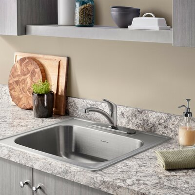 Colony 25 x 22 Single Bowl Drop-In Kitchen Sink with Faucet and Drain