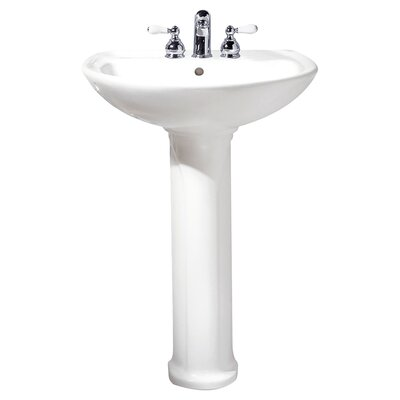 Cadet Ceramic 25 Pedestal Bathroom Sink with Overflow Sink Finish: White, Faucet Mount: 4 Centers