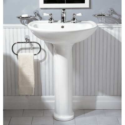 Cadet Ceramic 25 Pedestal Bathroom Sink with Overflow Sink Finish: White, Faucet Mount: 8 Centers