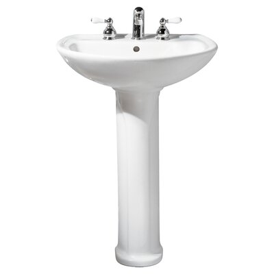Cadet Ceramic 25 Pedestal Bathroom Sink with Overflow Sink Finish: Bone, Faucet Mount: 8 Centers