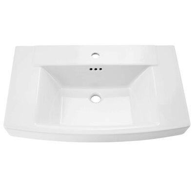 Townsend Rectangular Pedestal Bathroom Sink with Overflow Sink Finish: White