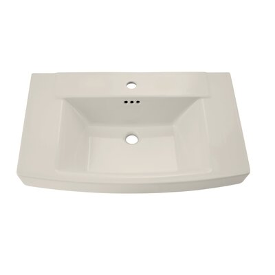 Townsend Rectangular Pedestal Bathroom Sink with Overflow Sink Finish: Linen