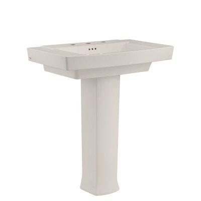 Townsend Rectangular Pedestal Bathroom Sink with Overflow Sink Finish: Linen