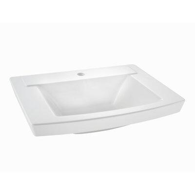 Townsend  24 Pedestal Bathroom Sink with Overflow Sink Finish: White