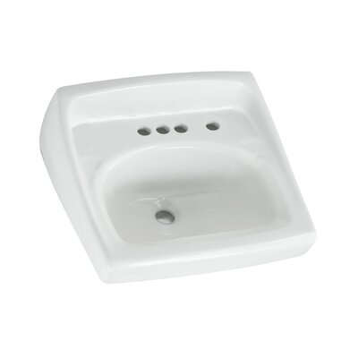 Lucerne Ceramic 21 Wall Mount Bathroom Sink with Overflow Faucet Mount: 4 Centers with Right Hand Hole