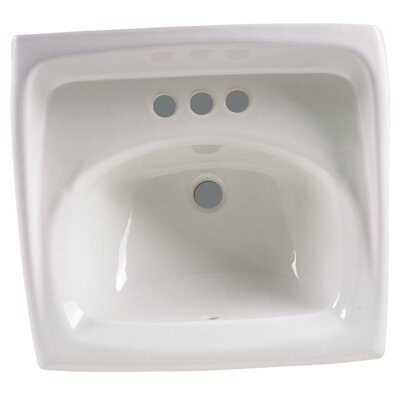 Lucerne Ceramic 21 Wall Mount Bathroom Sink with Overflow Sink Finish: White, Faucet Mount: 4 Centers
