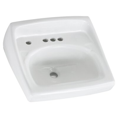 Lucerne Ceramic 21 Wall Mount Bathroom Sink with Overflow Faucet Mount: 4 Centers with Left Hand Hole
