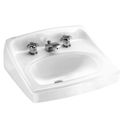 Lucerne Ceramic 21 Wall Mount Bathroom Sink with Overflow Faucet Mount: 8 Centers