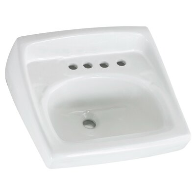 Lucerne Ceramic 21 Wall Mount Bathroom Sink with Overflow Faucet Mount: 8 Centers with Right Hand Hole