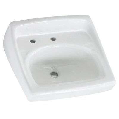 Lucerne Ceramic 21 Wall Mount Bathroom Sink with Overflow Faucet Mount: Left Hand Hole