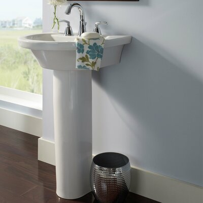 Tropic Petite Ceramic 21 U-Shape Pedestal Bathroom Sink and Overflow Sink Finish: White, Faucet Mount: 8 Centers