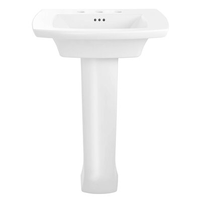 Edgemere Rectangular Pedestal Bathroom Sink with Overflow