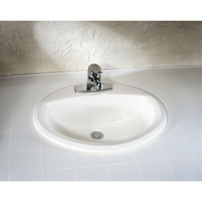 Aqualyn Ceramic Oval Drop-In Bathroom Sink with Overflow Sink Finish: White, Faucet Mount: 8 Centers