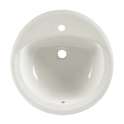 Rondalyn Ceramic Circular Drop-In Bathroom Sink with Overflow Sink Finish: White, Faucet Mount: 4 Centers