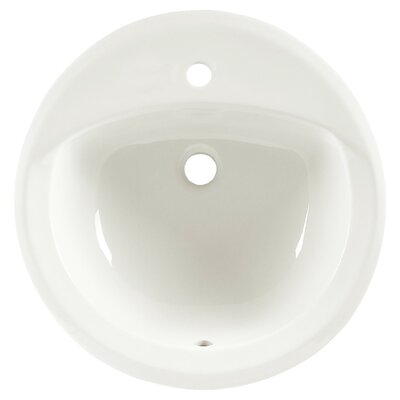 Rondalyn Ceramic Circular Drop-In Bathroom Sink with Overflow Sink Finish: Linen, Faucet Mount: Single-Hole