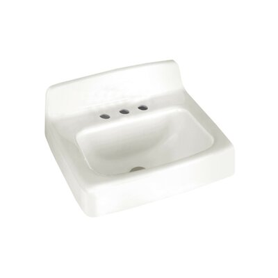 Regalyn Ceramic 19 Wall Mount Bathroom Sink with Overflow Faucet Mount: 4 Centers