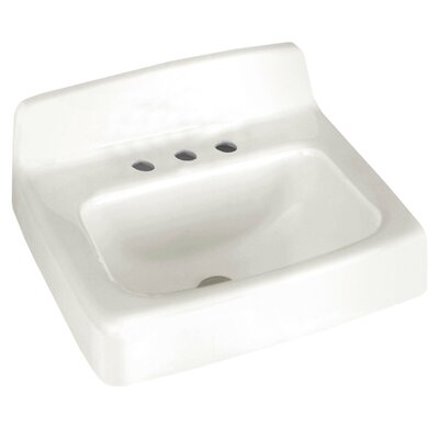 Regalyn Ceramic 19 Wall Mount Bathroom Sink with Overflow Faucet Mount: 8 Centers