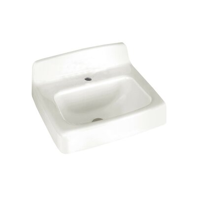 Regalyn Ceramic 20 Wall Mount Bathroom Sink with Overflow Faucet Mount: Single Hole
