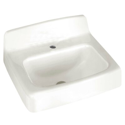 Regalyn Ceramic 19 Wall Mount Bathroom Sink with Overflow Faucet Mount: Single Hole