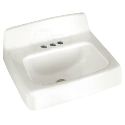 Regalyn Ceramic 20 Wall Mount Bathroom Sink with Overflow Faucet Mount: 4 Centers