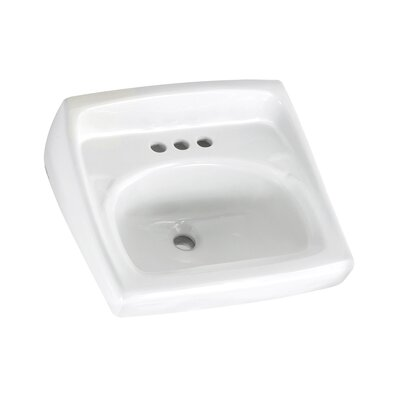 Lucerne 21 Wall Mount Bathroom Sink with Overflow Sink Finish: White, Faucet Mount: 4 Centers