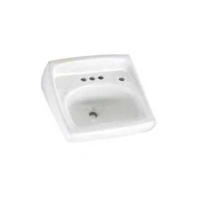 Lucerne 21 Wall Mount Bathroom Sink with Overflow Faucet Mount: 4 Centers with Right Hand Hole