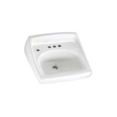 Lucerne 21 Wall Mount Bathroom Sink with Overflow Faucet Mount: 4 Centers with Left Hand Hole