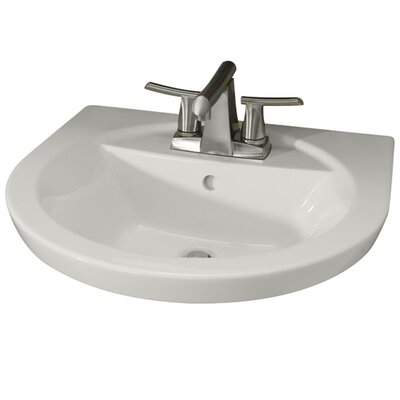 Tropic Petite 21 Pedestal Bathroom Sink with Overflow Sink Finish: Linen, Faucet Mount: 4 Centers