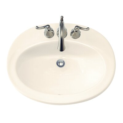 Piazza Ceramic Oval Drop-In Bathroom Sink with Overflow Sink Finish: Bone, Faucet Mount: Single-Hole