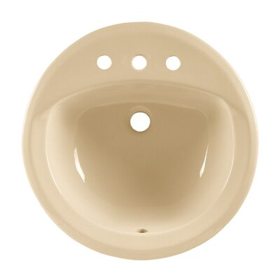 Rondalyn Ceramic Circular Drop-In Bathroom Sink with Overflow Sink Finish: Bone, Faucet Mount: 8 Centers