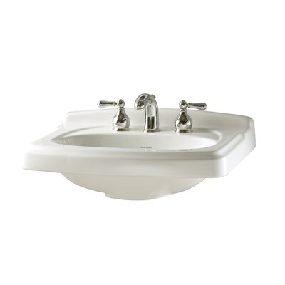 Townsend Ceramic 25 Pedestal Bathroom Sink with Overflow Sink Finish: White, Faucet Mount: 8 Centers