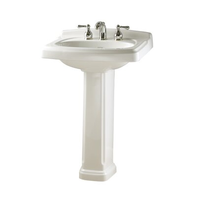 "Townsend Pedestal Bathroom Sink Set Faucet Mount: 8"" Centers, Sink Finish: White"