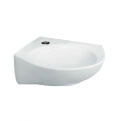 14 Wall Mounted Bathroom Sink with Overflow Faucet Mount: Single Hole