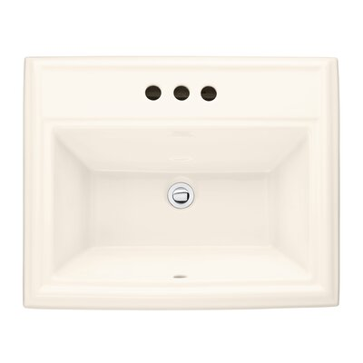 Town Square Rectangular Drop-In Bathroom Sink with Overflow Sink Finish: White, Faucet Mount: Single-Hole
