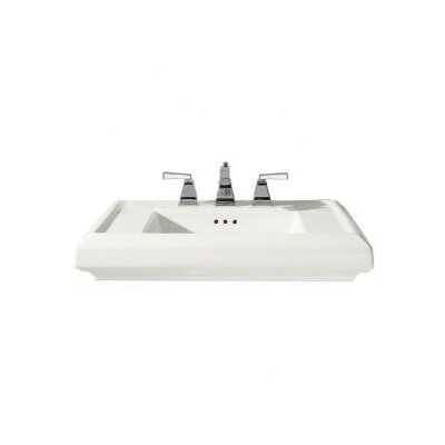 Town Square Top 27 Pedestal Bathroom Sink with Overflow Sink Finish: White, Faucet Mount: 8 Centers