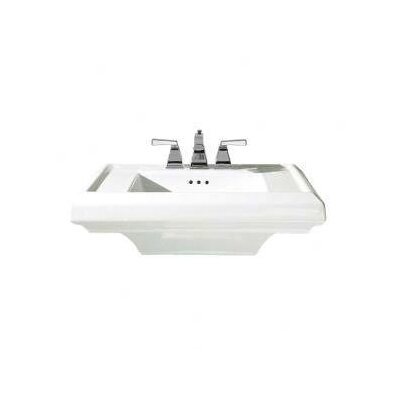 Town Square 24 Pedestal Bathroom Sink with Overflow Sink Finish: White, Faucet Mount: 4 Centers