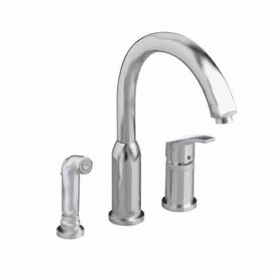 Arch Single Handle Widespread Cold / Hot Water Dispenser Kitchen Faucet with Side Spray Finish: Stainless Steel