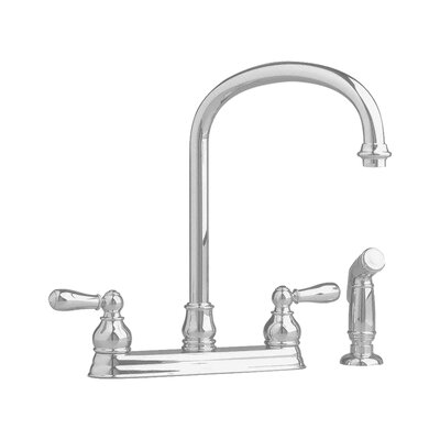 Hampton Two Handle Centerset kitchenFaucet with Side Spray Finish: Satin Nickel (PVD), Handle Type: Metal Lever