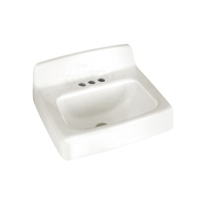 Regalyn 19 Wall Mount Bathroom Sink with Overflow Faucet Mount: 4 Centers