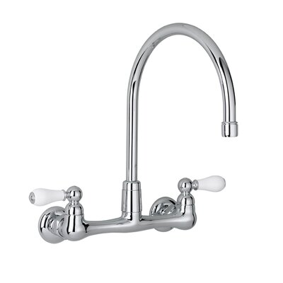Heritage Two Handle Wall Mount Bridge kitchenFaucet with Optional Handles and Gooseneck Spout Handle Type: Porcelain Lever