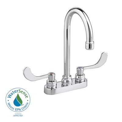 Monterrey Centerset Gooseneck Bathroom Faucet with Wrist Blade Handles and Grid Drain