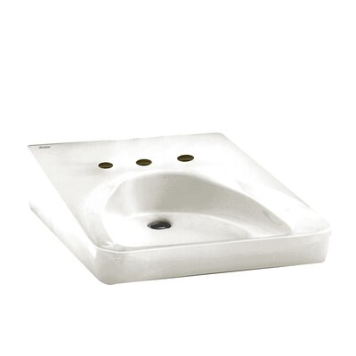 ADA Compliant 20 Wall Mount Bathroom Sink with Overflow Faucet Mount: 10.5 Centers, Sink Finish: White