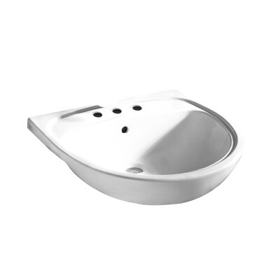 Mezzo Semi 22 Wall Mount Bathroom Sink with Overflow Faucet Mount: 8 Centers, Sink Finish: White