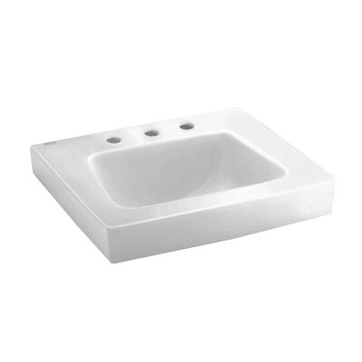 Roxalyn Ceramic 20 Wall Mount Bathroom Sink with Overflow Faucet Mount: 8 Centers with Right Hand Hole