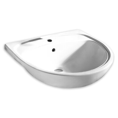 Mezzo Ceramic Circular Drop-In Bathroom Sink with Overflow Faucet Mount: Single-Hole, Sink Finish: White