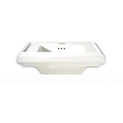 Town Square 24 Pedestal Bathroom Sink with Overflow Sink Finish: White, Faucet Mount: Single Hole